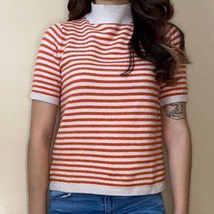 Loft Striped Mockneck Sweater Top